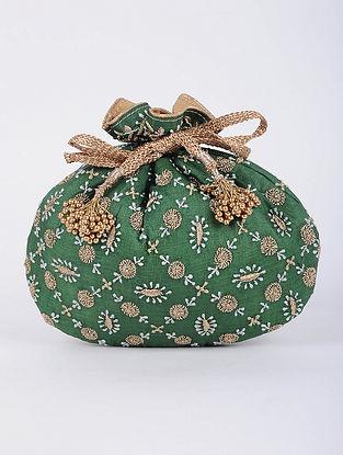 Green Handcrafted Tussar Silk Potli with Chikankari Work