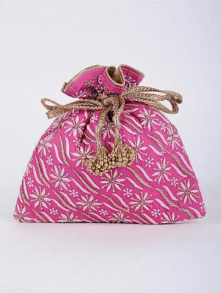 Pink Handcrafted Tussar Silk Potli with Chikankari Work