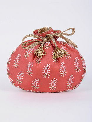 Coral Handcrafted Tussar Silk Potli with Chikankari Work