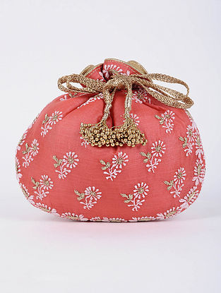 Coral Handcrafted Tussar Silk Potli with Chikankari Work