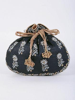 Black Handcrafted Tussar Silk Potli with Chikankari Work