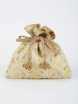 Yellow Handcrafted Tussar Silk Potli with Chikankari Work