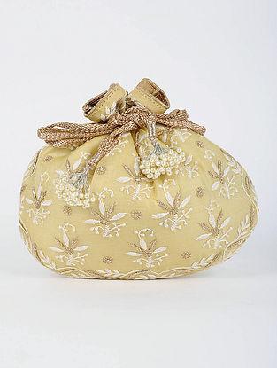 Yellow Handcrafted Tussar Silk Potli with Chikankari Work