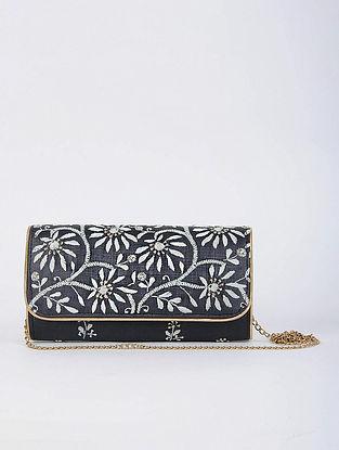 Black Handcrafted Tussar Silk Envelope Clutch with Chikankari Work