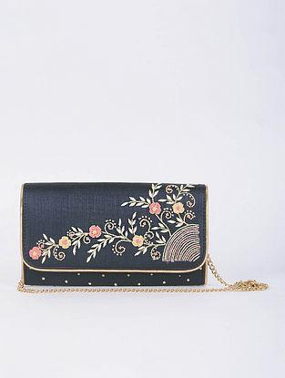 Black Handcrafted Tussar Silk Envelope Clutch with Zardosi Work