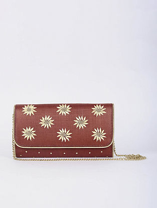 Red Handcrafted Tussar Silk Envelope Clutch with Zardosi Work