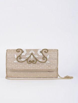 Beige Handcrafted Tussar Silk Envelope Clutch with Zardosi Work