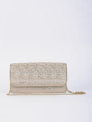 Beige Handcrafted Tussar Silk Envelope Clutch with Chikankari Work