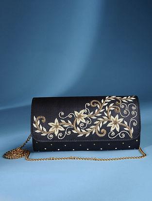 Black Zardozi Tussar Silk Sling Bag