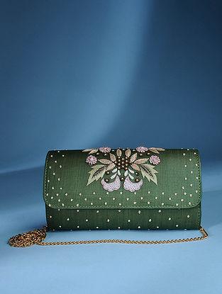 Green Zardozi Tussar Silk Sling Bag