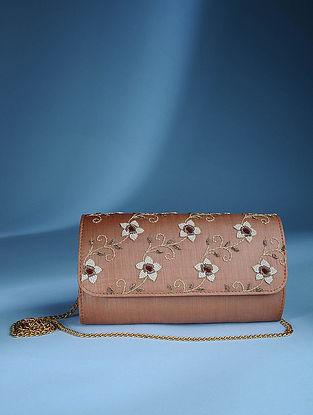 Brown Zardozi Tussar Silk Sling Bag
