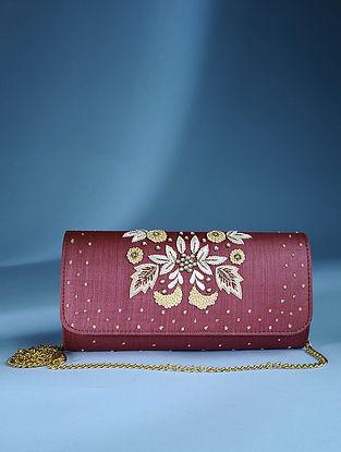 Maroon Zardozi Tussar Silk Sling Bag
