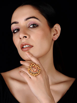 Classic Gold Tone Brass Ring with Ghungroo