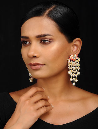 Orange-White Gold Tone Meenakari Earrings
