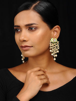 Green-White Gold Tone Meenakari Earrings