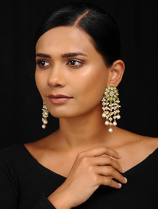 Green-Yellow Gold Tone Meenakari Earrings