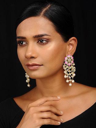 Pink-White Gold Tone Meenakari Earrings