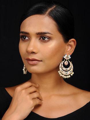 Powder Pink Gold Tone Meenakari Earrings