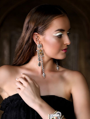 Leher Silver and Gold Jadau Polki Diamond Earrings with Pearls