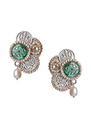 Java Green Enameled Silver and Gold Jadau Polki Diamond Earrings with Pearls