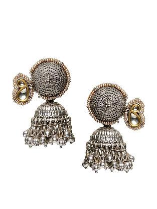 Prance Silver and Gold Jadau Polki Diamond Jhumki Earrings with Pearls