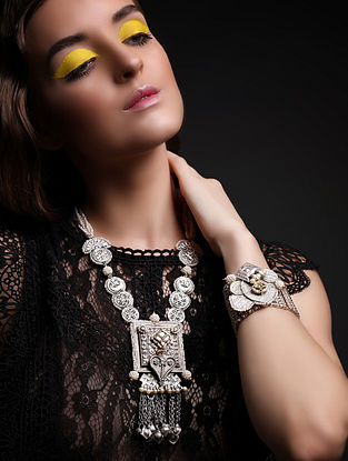 Prance Silver and Gold Jadau Polki Diamond Necklace with Pearls