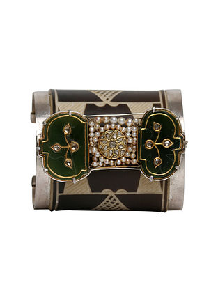 Zambezi Silver and Gold Jadau Cuff with Green Jade and Pearls