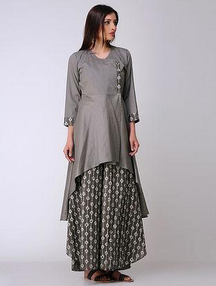 Ivory-Grey Dabu-printed Cotton Kurta