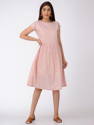 Pink Gathered Cotton Dress-S
