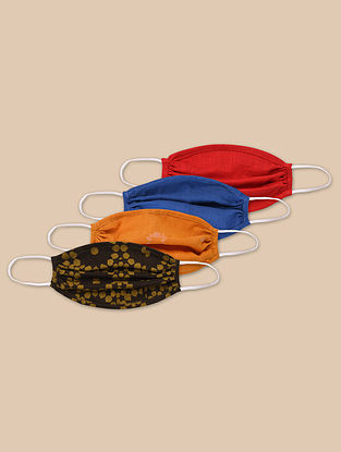 Tabassum Comfort Fit - Double Layered Round 100% Cotton Mask (Set of 4)