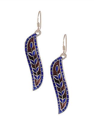 Brown Blue Enameled Silver Earrings