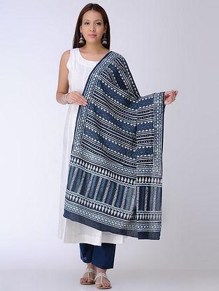 Indigo-White Dabu-printed Cotton Mul Dupatta