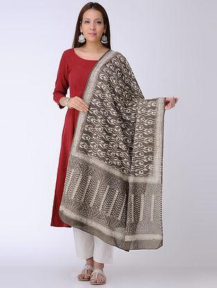 Kashish-Ivory Dabu-printed Cotton Mul Dupatta