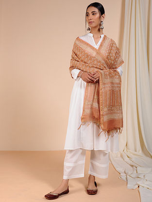 Orange-Ivory Dabu-printed Chanderi Dupatta with Zari
