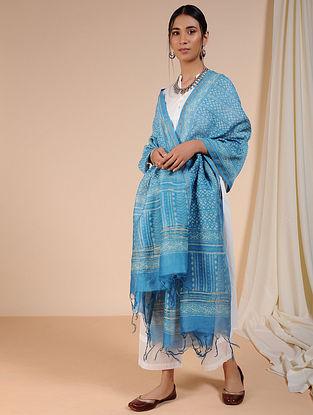 Blue-Ivory Dabu-printed Chanderi Dupatta with Zari