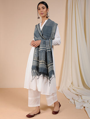 Grey-Ivory Dabu-printed Chanderi Dupatta with Zari