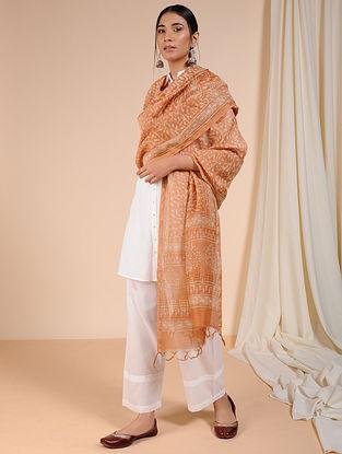 Orange-Ivory Dabu-printed Chanderi Dupatta with Zari