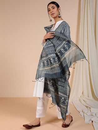 Grey-Ivory Dabu-printed Chanderi Dupatta with Zari