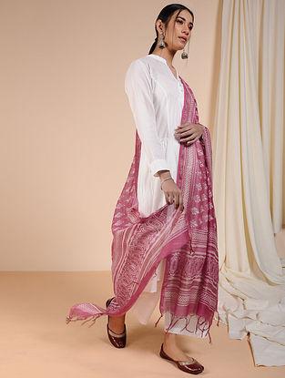 Pink-Ivory Dabu-printed Chanderi Dupatta with Zari