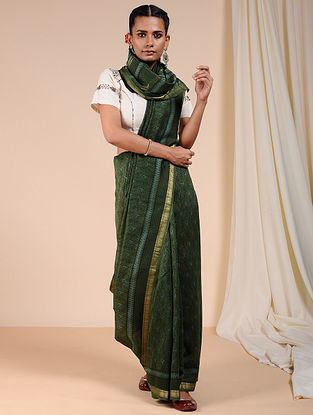 Green Dabu Printed Chanderi Saree with Zari