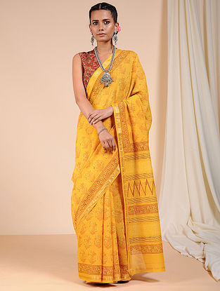 Yellow Dabu Printed Chanderi Saree with Zari