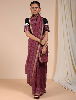 Purple Dabu Printed Chanderi Saree with Zari