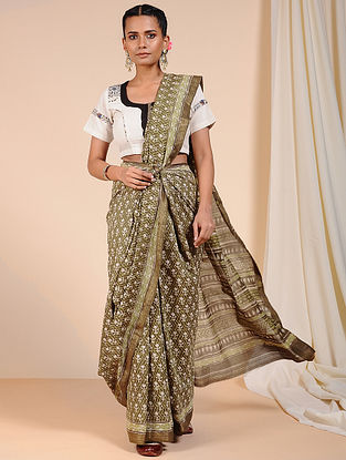 Green-Ivory Dabu Printed Chanderi Saree with Zari