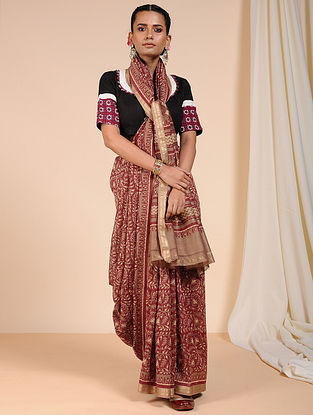 Beige-Red Dabu Printed Chanderi Saree with Zari
