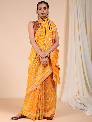 Yellow-Ivory Dabu Printed Chanderi Saree with Zari