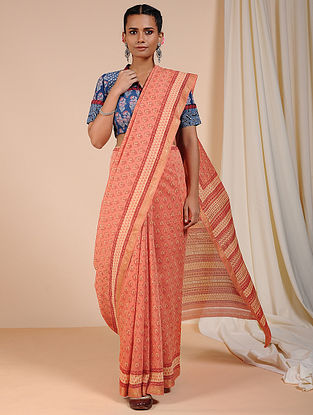 Peach-Ivory Dabu Printed Chanderi Saree with Zari