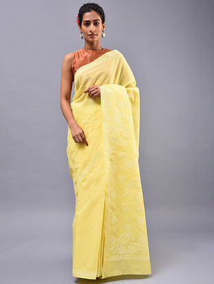 Yellow Chikankari Cotton Blend Saree