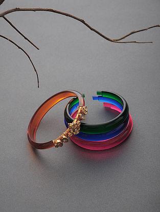 Multicolored Polki Gold Bangles Set of 4 (Bangle Size -2/8)