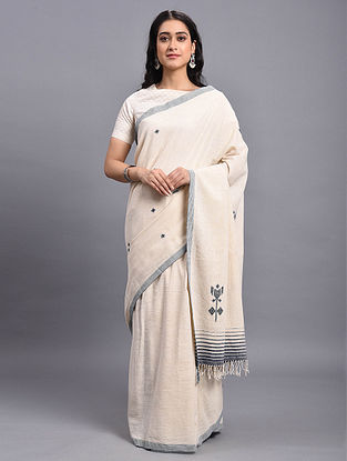 Ivory Natural Dyed Handwoven Kala Cotton Saree