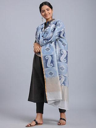 Blue-Ivory Block-printed Chanderi Duppata with Zari